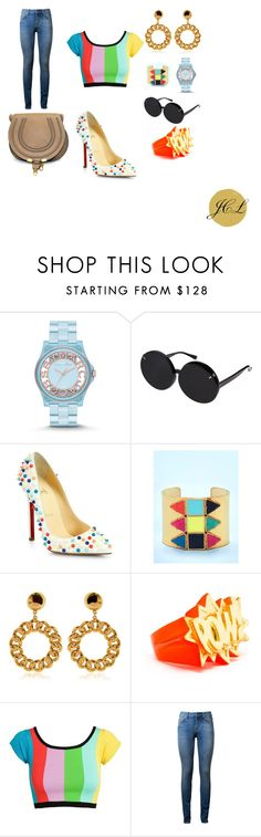 Saint Laurent by dame-j on Polyvore featuring Jeremy Scott, Yves Saint Laurent, Christian Louboutin, Chloé, AMBUSH, Marc by Marc Jacobs, Moschino, Kate Spade, Linda Farrow and christianlouboutin