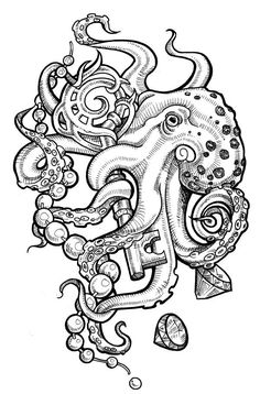 Another Tattoo design commission from Etsy I have NEVER drawn an entire octopus before, so the task was very exciting and a little intimidating at first. But I am very pleased with the final result...
