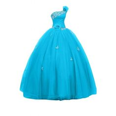 Sunvary Royal One-Shoulder Satin Tulle Ball Gown Quinceanera Prom... ($180) ❤ liked on Polyvore featuring dresses, gowns, quinceanera dresses, tulle dress, satin dress, blue quinceanera dresses and blue gown