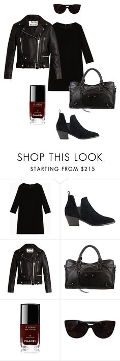 """""""All black everything."""" by uselessdk ❤ liked on Polyvore featuring Max&Co., Sigerson Morrison, Acne Studios, Balenciaga, Chanel, Tiffany & Co., Minimaliststyle, capsulewardrobe and sustainablefashion"""