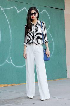 zara white wide trousers pants striped shirt boxy blue bag clear heels celine sunglasses