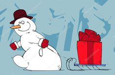Caixa vermelha grande entrega de boneco de neve — Ilustração de Stock Count Dracula, Counting, Grande, Snoopy, Window, Illustration, Christmas, Fictional Characters, Vector Art