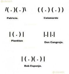 Patricio / Calamardo / Plankton / Don Cangrejo / Bob Esponja