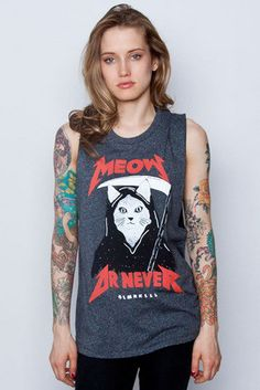 Girls Meow Or Never Cut Sleeve Top.  Reminds me of my metal cat shirt hahah