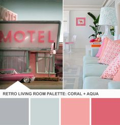 Coral and Aqua Living Room Color Palette - Tuesday Huesday on HGTVs Design Happens. I would love these colors in the guest room My New Room, My Room, Coral Aqua, Coral Color, Retro Living Rooms, 1950s Living Room, Big Girl Rooms, Retro Home Decor, Room Colors