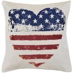 Spencer Home Decor Americana Heart Flag Throw Pillow ($24) ❤ liked on Polyvore featuring home, home decor, throw pillows, red, red home decor, red accent pillows, red toss pillows, americana home decor and patterned throw pillows