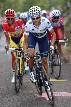 Vuelta a España 2014 - Stage 14: Santander - La Camperona. Valle de Sábero 200.8km - Alejandro Valverde (Movistar) is followed up the climb by race leader Alberto Contador (Tinkoff-Saxo)