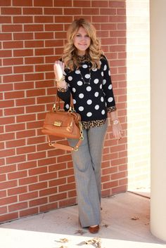 Polka dot sweater... Love the leopard shirt underneath! ummm, where can I get my hands on one?