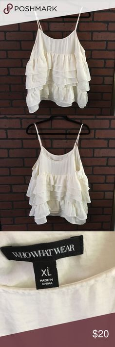 """Who what wear top🌸2 available NWOT🌸Light cream colored ruffled layered top🌸 material is 100% polyester🌸 armpit to armpit measures approx 21"""" 🌸 where strap is attached to bottom measures approx 21"""" 🌸flowy look🌸not sheer 🌸 WHOWHATWEAR Tops"""