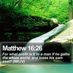 Matthew 16:26 For what profit is it to a man if he gains the whole world, and loses his own soul? (NKJV)  #Humble #Discipleship #Life #MotivationalQuote #MotivationalLockScreens http://www.bible-sms.com/