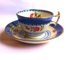 Vintage Blue, Gold and Pink Tea Cup and Saucer