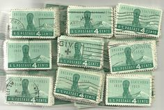 #1124 - 4¢ x 100 Used US Stamps Lot Oregon Statehoo Issue See our oth er lots