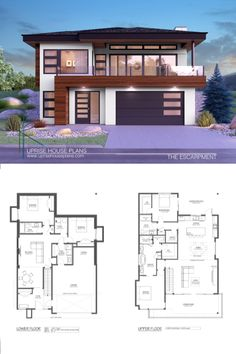 The Escarpment Lower Floor Area: 1281 sqft Main Floor Area: 1623 sqft Width: including cantilever) Depth: Garage: 2 Car Garage with Extended Bay Storeys: 2 Storey Walk-Up ________________________________________ Contemporary House Plans, Modern Contemporary, Photorealistic Rendering, New Home Designs, Car Garage, Luxury Living, Exterior Design, Custom Homes, Sweet Home