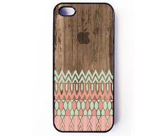 Iphone 5 Case / Iphone 5s Case - Geometric Aztec Pattern On Wood iPhone cover - plastic or rubber - tribal, unique, gift idea