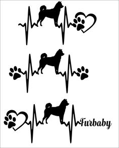 commercial use svg-SVG Cut File Cute -Akita-Heartbeat paw with heart-Scrapbook, Tshirt Tote Silhouette PDF, Dxf, PNG, Eps, dog, paw, heart by TheLazyIdesigns on Etsy