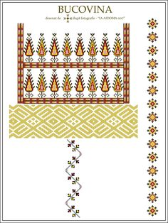 Semne Cusute: IA AIDOMA 7 = Bucovina, ROMANIA Border Embroidery Designs, Embroidery Motifs, Cross Stitch Letters, Cross Stitch Borders, Palestinian Embroidery, Simple Cross Stitch, Embroidered Clothes, Diy Projects To Try, Traditional Art