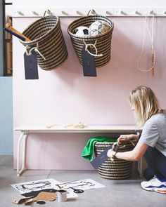 IKEA organization home hack: hang and label baskets