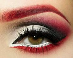 This would make amazing Harley Quinn makeup. You could do a variation on the theme swapping the red and black for the other eye.