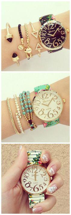 www.Keren-Center.com Floral Fashion Summer Party Girl Teen Black Watch