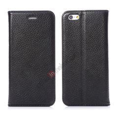 K-Cool Litchi Pattern Genuine cowhide Flip Leather Case For iPhone 6 Plus 5.5inch - Black US$13.99