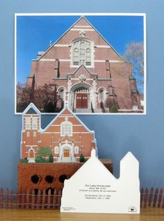 The Cat's Meow Village | We can work from your photo to create a wooden keepsake for a special celebration or just as a fund raiser...it's easy! | http://www.myworldfundraising.com/church.html | Our Lady Immaculate, Athol, Massachusetts