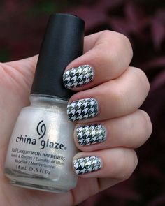 houndstooth pattern made with Konad nail plate m63