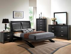 Crown Mark Galinda Modern Black Finish Faux Leather Upholstered Queen Bedroom Set - All About Decoration Master Bedroom Set, King Size Bedroom Sets, Queen Bedroom, Queen Bedding Sets, Modern Bedroom, Bedroom Black, Queen Size Platform Bed, Platform Bedroom, Wood Bedroom Furniture