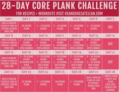 Challenge yourself with this Core Plank Challenge! Challenge yourself with this Core Plank Challenge! 12 Week Workout, Month Workout Challenge, 30 Day Plank Challenge, Workout Ideas, Fitness Herausforderungen, Senior Fitness, Physical Fitness, Fitness Goals, Weekly Workout Plans