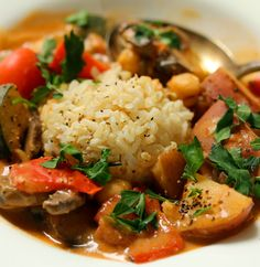 """West African vegetable stew in peanut sauce has amazing, creamy """"mouth feel""""!"""