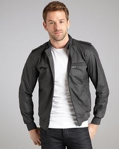 Members Only - charcoal cotton 'Trench Racer' jacket