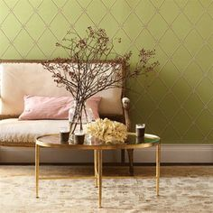 green & pale, pale pink color scheme for office