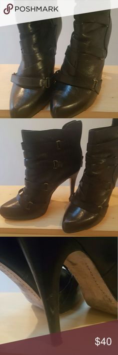 Boutique 9 ankle boots These are so much fun, strappy and embellished with buckles - perfect details. Minor scuff on one heel (third picture) otherwise in great condition. Get them for a fraction of the original price. No box included. Boutique 9 Shoes Ankle Boots & Booties