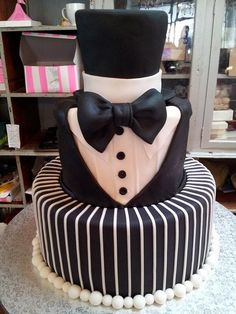 3-tier Tuxedo & Top Hat style Wicked Chocolate C Black and white wedding…