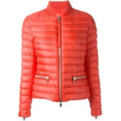 Moncler 'Blennie' puffer jacket ($935) ❤ liked on Polyvore featuring outerwear, jackets, zip front jacket, straight jacket, moncler, feather jacket and red puffer jacket