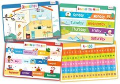 Educational Kids Placemats Set of Opposites, Days of the Week, Months of the Year, Learn to Count - Bundle - Non Slip Washable Toddler Learning, Early Learning, Teaching Kids, Learn To Count, New Things To Learn, Days And Months, Months In A Year, Learning Tools, Learning Resources