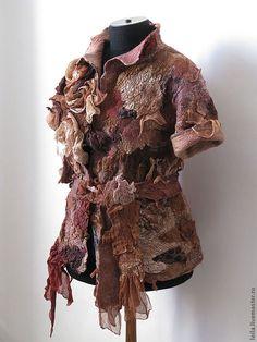"""Купить жакет """"Сильвия """" - коричневый, жакет, жакет из войлока, розы, шерсть, шерсть 100%"""