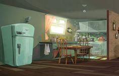 visual development and concept art for Top cat animation movie. Bg Design, Prop Design, Layout Design, Environment Concept Art, Environment Design, Kitchenette, Kitchen Background, Cartoon House, Interior Concept