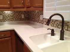 6x6 diagonal porcelain tile backsplash with a 2x2 accent dot in rh pinterest com