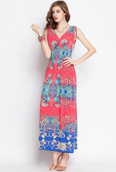 Euro-American Printed  Sleeveless Dress
