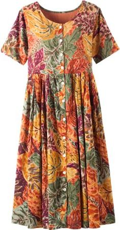 Autumn dreams cotton drop-waist dress is tailored to be flattering on any figure. This leaf-print casual dress has an adjustable tie back for a customized fit. Fall Dresses, Cotton Dresses, Casual Dresses, Fashion Dresses, Summer Dresses, Vestidos Vintage, Vintage Dresses, Dream Dress, I Dress