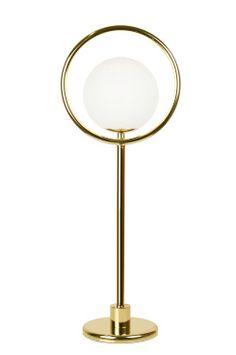 """Ellos Home Bordslampa Saint Bordlampa """"Saint"""" hade enkelhet som inspiration. Ringen i metall med det svävande vita glasklotet inuti. Gedigna och bearbetade detaljer rakt igenom. Transparent kabel med brytare. Höjd 52 cm. Bredd 20 cm. Djup 13 cm. Lamphållare G9. Max 18W. Ljuskälla ingår ej. Design: Patrick Hall.<br> <br><br>"""