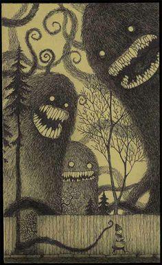 monsters in the dark walking home alone scary post-it note art drawing illustration john kenn