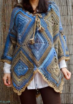 Blue Bom poncho front