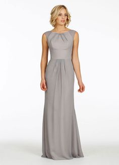 This gray gown features a pleated bateau neckline (super flattering!) and tailored bodice. | See more gorgeous floor length bridesmaid dresses here: http://www.mywedding.com/articles/floor-length-bridesmaid-dresses/