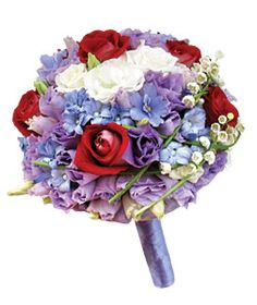Blue and red wedding bouquet