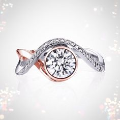 It's Two Tone Tuesday with Aurora in white and rose gold! What do you think?  http://www.markschneiderdesign.com/engagement-rings/contemporary-engagement-rings/aurora-engagement-ring