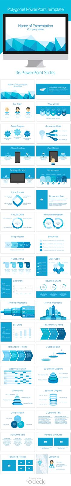 Polygonal PowerPoint template with 36 pre-designed slides. This template is multipurpose and can be used in any topics. #powerpoint #powerpoint_template #presentations