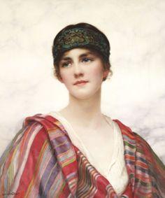 William Clarke Wontner (British 1857–1930) [Portraits, Academicism, Classicism, Romanticism] Cyrene, 1882.