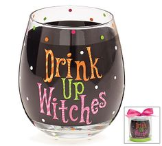 "#burtonandburton Hand wash.<br>Wine glass polka dots all over and black stripe through the center with the message: Drink Up Witches. Each glass comes in a clear acetate box with a satin bow.<br><br>4 1/2""H X 2 3/4""Opening and holds 16oz.<br>1 set of 4."