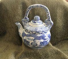 Cobalt Blue Dragon Teapot, Chinese Porcelain Dragon Teapot, Hand Painted,Asian Dragon, Foo Dog Handles, Dragon Decor, Cobalt Blue Dragon by BullfrogHollow on Etsy